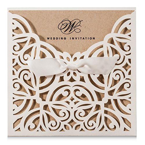Wishmade Square Ivory Laser Cut Wedding Invitations Cards with Kraft Paper Invitation with Bow Lace Sleeve Engagement Bridal Shower Birthday Quinceanera (Pack of 50pcs)