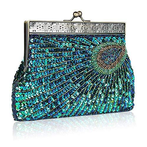 Bolso de embrague vintage con lentejuelas de pavo real, antiguo bolso de noche con cuentas de estilo antiguo, bolso de mano turquesa para boda (azul)