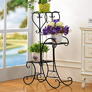 Plant Stand Metal Flower Holder Pot with 3 Tier Garden Decoration Display Wrought Iron 3 Layers Planter Rack Shelf Organizer for Garden Home Office Black (3layer)