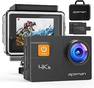 【新型4K/30FPS】APEMAN A80 アクションカメラ 4K画質 2000万高画素 光学4倍ズームレンズ WIFI搭載 40M防水 170度広角調整可能 手ブレ補正 HDMI出力 スポーツカメラ アクセサリー多数 バイク/自転車/車に取り付け可能 専用バック付き 1050mAh大容量バッテリー2個 ウェアラブルカメラ・アクションカム