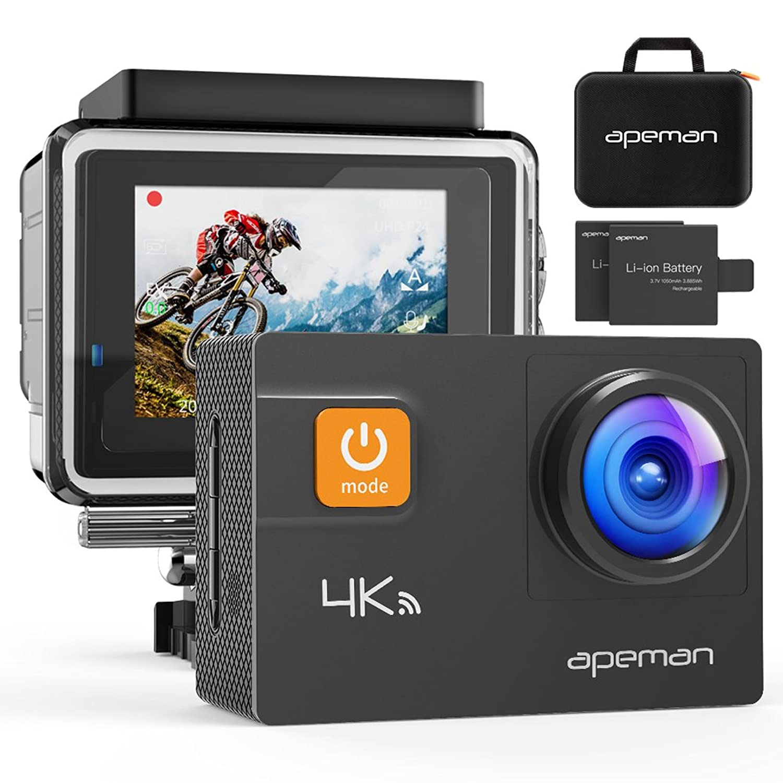 APEMAN アクションカメラ 4K 20MP 高画素UHD WIFI搭載 40m強力防水 170度調整可能広角 手ブレ補正 HDMI出力 スポーツカメラ アクセサリー多数 バイク/自転車/車に取り付け可能 専用ケース付き 1050mAhバッテリー*2 ウェアラブルカメラ?アクションカム(新品)