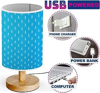 ARTSYLAMP - USB Powered Wood Base Desk Table Bedside Lamp [ Oil Derrick Blue ]