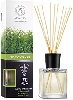 Reed Diffuser Lemongrass 200ml - Room Diffuser - Home Fragrance - Aromatherapy Air Freshener with Lemongrass Essential Oil...