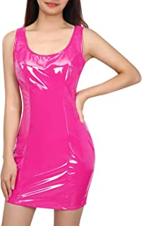 HDE Womens Latex Bodycon Mini Scoop Sleeveless Club Sexy Halloween Party Dress