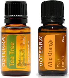 Authentic doTERRA 2 in 1 Essential Oils Starter Set ( doTERRA Melaleuca Tea Tree 15ml + doTERRA Wild Orange 15ml ) + FREE Expedited Shipping