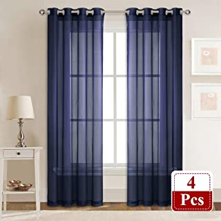 RYB HOME Semi Sheer Panels - Vintage Window Decor Sheet Light Airy Voile Lightweight for Boy Bedroom Laundry Playroom Home Office, Set of 4, 54 x 84 Each, Navy Royal Blue