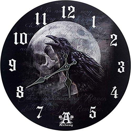 MC wunderschöne Wanduhr Rabe Raven Curse by Alchemy