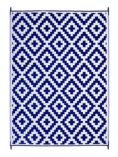 FH Home Indoor/Outdoor Recycled Plastic Floor Mat/Rug - Reversible - Weather & UV Resistant - Aztec - Blue & White (9 ft x 12 ft) - Foldable