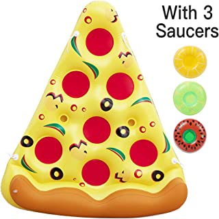 Pizza Pool Float Raft Outdoor Swimming Pool Inflatable Float .Fun Pool Floaties, Swim Party Toy, Summer Pool Raft with ( 3 Drink Holders)