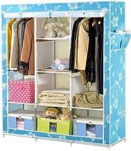 HN Wardrobe, Cloth Wardrobe Assembly Cloth Wardrobe Simple Wardrobe Steel Pipe Tarpaulin Assembly Storage Cabinet Double W...
