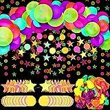 102 Piezas Suministros de Fiesta Luminosa de Neón Globos de Resplandor de Neón Bandera Guirnalda de Papel de Estrellas y Puntos de Círculo de Luz Negra Globos de Fiesta Fluorescentes
