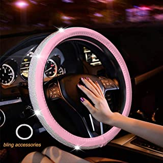 New Diamond Leather Steering Wheel Cover with Bling Bling Crystal Rhinestones, Universal Fit 15 Inch Anti-Slip Wheel Protector for Women Girls (Pink)