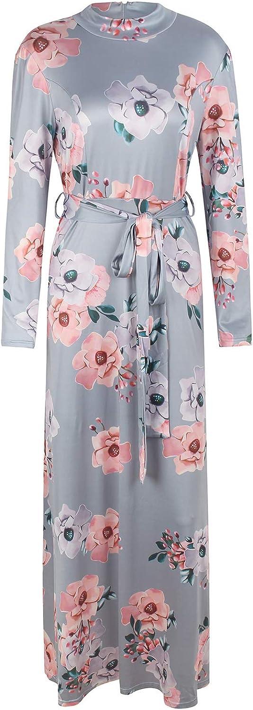 KEFIRLILY Women Casual Long Sleeve Floral Print Tie Waist Crew Neck Maxi Dress