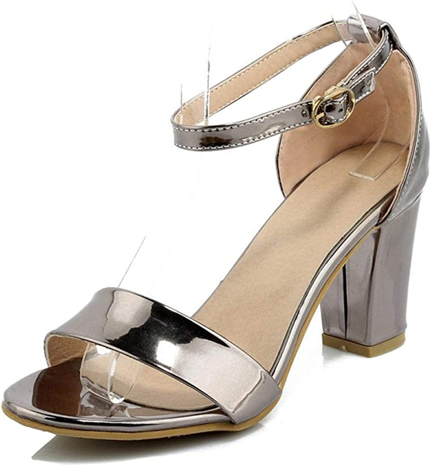 Unm Women's Fashion Open Toe Block High Heel Dressy Buckled Sandals shoes with Ankle Strap