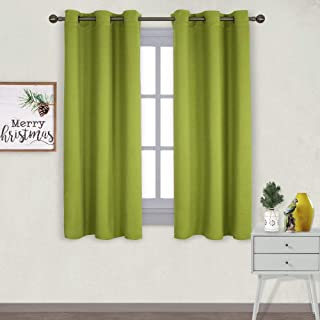 NICETOWN Thermal Insulated Solid Grommet Top Blackout Christmas Holiday Decorative Curtains/Drapes for Kid's Room (1 Pair,42 x 63 inches in Fresh Green)
