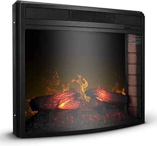 """2021 BELLEZE 28"""" Embedded Curved Glass Insert Fireplace Wall Mount Electric lowest Heater for Living Room w/Remote and 2021 Temperature Settings,1400W(Black) online"""