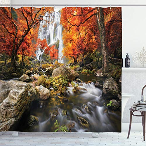 """Ambesonne Jungle Shower Curtain, Trees Scenic Thai Waterfall and River Park in The Autumn Season Stream on Rocks, Cloth Fabric Bathroom Decor Set with Hooks, 70"""" Long, Brown Orange"""