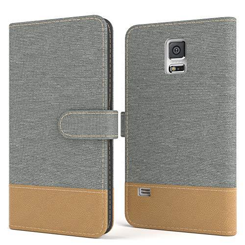 EAZY CASE Tasche für Samsung Galaxy S5/LTE+/Duos/Neo Stoff Schutzhülle mit Standfunktion Klapphülle Bookstyle, Handytasche Handyhülle Flip Cover, Magnetverschluss & Kartenfach, Kunstleder, Hellgrau