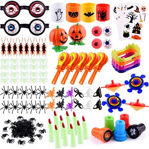 FEPITO 15 Fiesta de Halloween estilo Rellenos Surtido 223 Paquete de Halloween truco o Accesorios con arañas falsas, Sellos mano chapaletas dedo de dentaduras diablo para Halloween