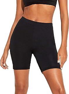 SheIn Women's Solid Skinny High Waist Workout Yoga Running Sports Biker Shorts