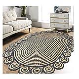 PTY Hand Geflochten Teppich Ovaler geflochtener Teppich aus Jute und Denim, handgewebter...