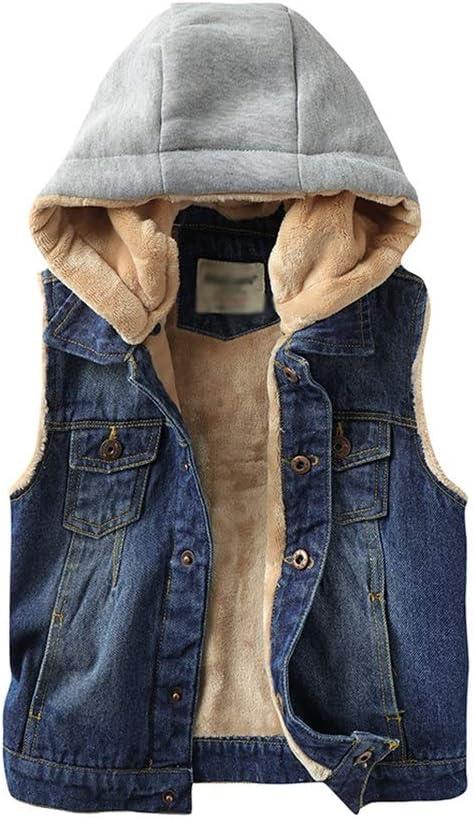 Cowboy Vest Winter Hooded Jackets Outwear Warm Jackets Fleece Lined Gilet Thicken Padded Jacket Winter Coat (Color : Blue, Size : 2X-Large)