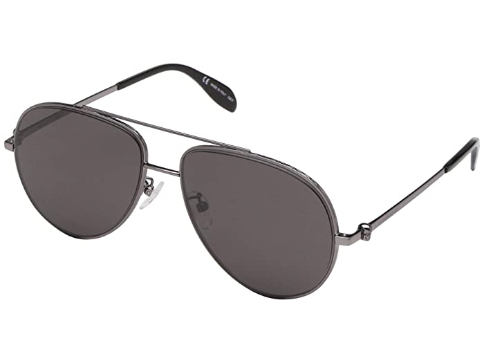 Alexander McQueen  AM0172S (Shiny Light Ruthenium/Grey) Fashion Sunglasses
