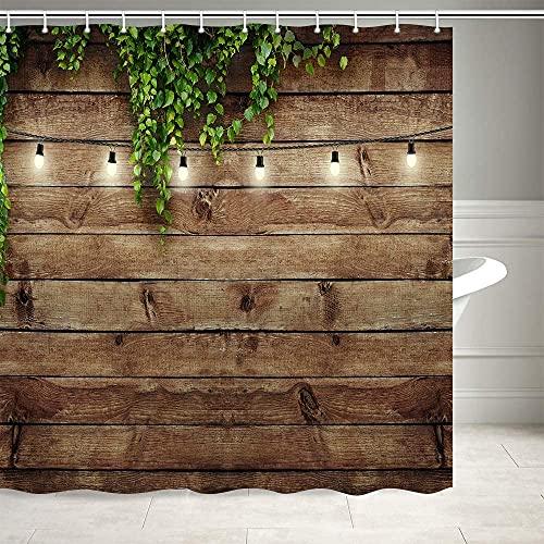 XCMMK 3D Duschvorhang aus Polyester mit 12 Duschvorhangringe für Badezimmer Einfache Holzwand wasserabweisend & Anti-Schimmel waschbare badvorhang (180 x 180 cm)