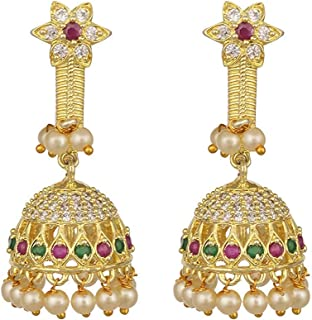 DV Jewels Pearl And Red Onyx Plated Earring