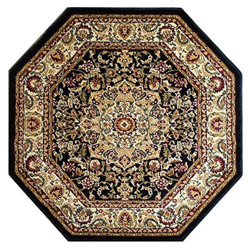 Bellagio Traditional Octagon Area Rug Design 401 Black (7 Feet 3 Inch X 7 Feet 3 Inch) Octagon