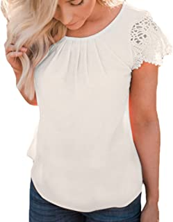 Women Lace Tops Summer Casual Solid Insert Ruffle Cap Sleeve Front Pleated T Shirts Blouse