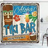 ABAKUHAUS Tiki Bar Duschvorhang, Vintage Zeichen, mit 12 Ringe Set Wasserdicht Stielvoll Modern Farbfest & Schimmel Resistent, 175x200 cm, Mehrfarbig