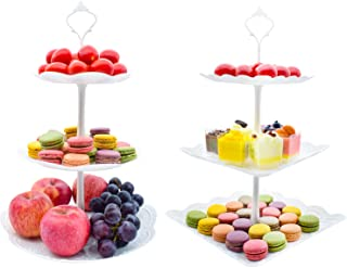 3 Tier Plastic Cake Stand Tiered Serving Fruit Cupcake Stand Dessert Table Decorations for Kids Birthday Tea Party Baby Shower Weddings Parties, 2-Pack (Square+Round)
