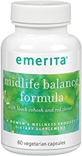 Emerita Midlife Balance Formula with Black Cohosh & Red Clover for Healthy Menopause Support | 30 Servings | 60 Capsules