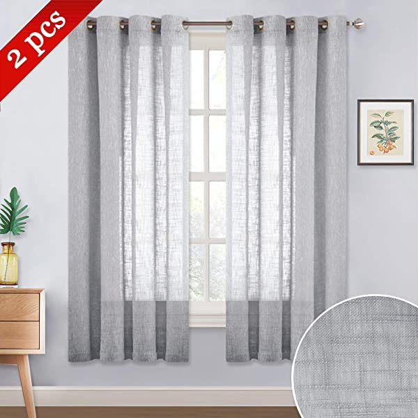 NICETOWN Semi Sheer Curtains For Bedroom Grommet Top Translucent Soft Privacy Window Treatment Voile Drapes For Kids Room Nursery Light Grey 52 W X 63 L Set Of 2 Pieces