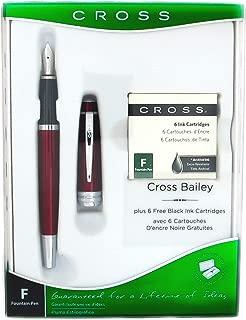Cross Bailey Red Fountain Pen + 6 Ink Cartridges