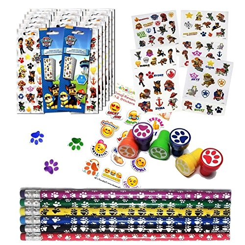 Multiple Paw Patrol Birthday Party Favor Set 12 Paw Print Stampers 12 Paw Print Pencils 16 Paw Patrol Stickers Sheets 75 Paw Patrol Tattoos 12 Emoji Stickers