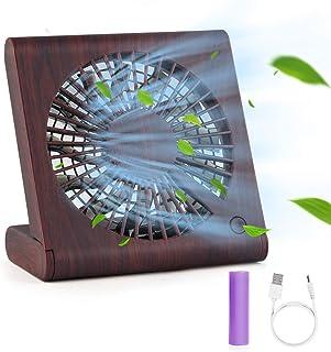 Hianjoo Ventiladores de Sobremesa, Mini Ventilador USB Grano de Madera Silencioso Ajustable Mesa Ventilador para Home Office y Cuaderno de Viaje con 3 velocidades, Marrón Oscuro