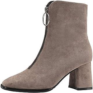 CYBLING Women's Front Zipper Short Boots Mid Block Heel Square Toe Faux Suede Winter Warm Fur Boots