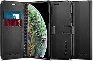 【Spigen】 スマホケース iPhone XS ケース 手帳型 5.8インチ 対応 手帳型 カード収納付き Qi充電対応 スタンド 機能 レザー ウォレットS 063CS25120 (ブラック)