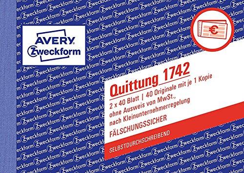 3er Multi-Pack Avery Zweckform 1742 Quittung Kleinunternehmer (A6 quer, selbstdurchschreibend, 2x40 Blatt) weiß/gelb