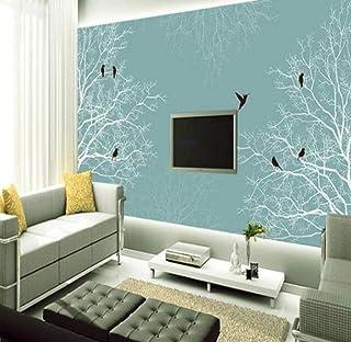 Wkxzz 3Dカスタムサイズの壁紙ロールホワイトツリー壁紙家の装飾壁画黒鳥用リビングルーム自然風景森-200X140Cm