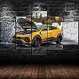 Cuadro En Lienzo Decoracion 5 Piezas HD Imagen Impresiones En Lienzo Super SUV 5 Set De Lona Lienzo Grandes XXL Murales Pared 5 Paneles De Pinturas De Obras De Arte Moderno
