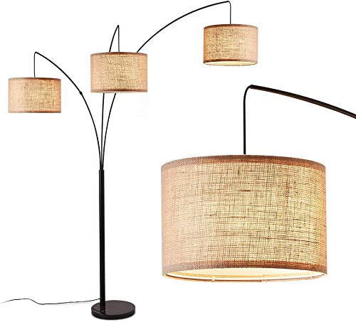 lowest Arc Lamps high quality for Living Room, Multi Head Tree Floor Lamp for Bedroom, 3 Lights Standing high quality Lamps Hanging Over The Couch (Black) outlet online sale