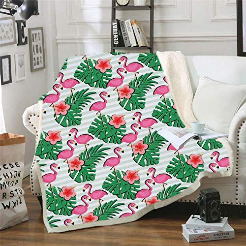 FDDSSYX Printed Throw Blanket,Cartoon Flamingo Plant Blanket Square 3D Printed Sherpa Blanket Couch Quilt Cover Travel Bedding Plush Throw Fleece Blanket Bedspread,75×100Cm/30×40Inch
