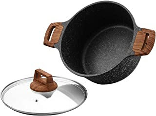 ESLITE LIFE Soup Pot with Lid 5 Quart Nonstick Induction Stock Pot Stone Stew Casserole Soup Pan with Granite Coating