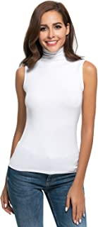 Women Sleeveless Mock Turtleneck T Shirt Basic Slim Fit Tunic Tank Top