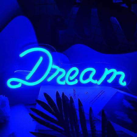 """Koicaxy Neon Sign Wandlampe, LED Neon Schild """"Dream"""" Wanddekoration, Batterie oder USB-betriebenes Acryl Neon Light für Schlafzimmer, Kinderzimmer, Wohnzimmer, Bar, Party, Weihnachten, Hochzeit"""