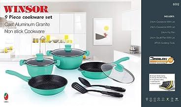 Winsor WR6002 9 Pieces Non-Stick Cookware Set, Turquoise, Cast Aluminum/Granite