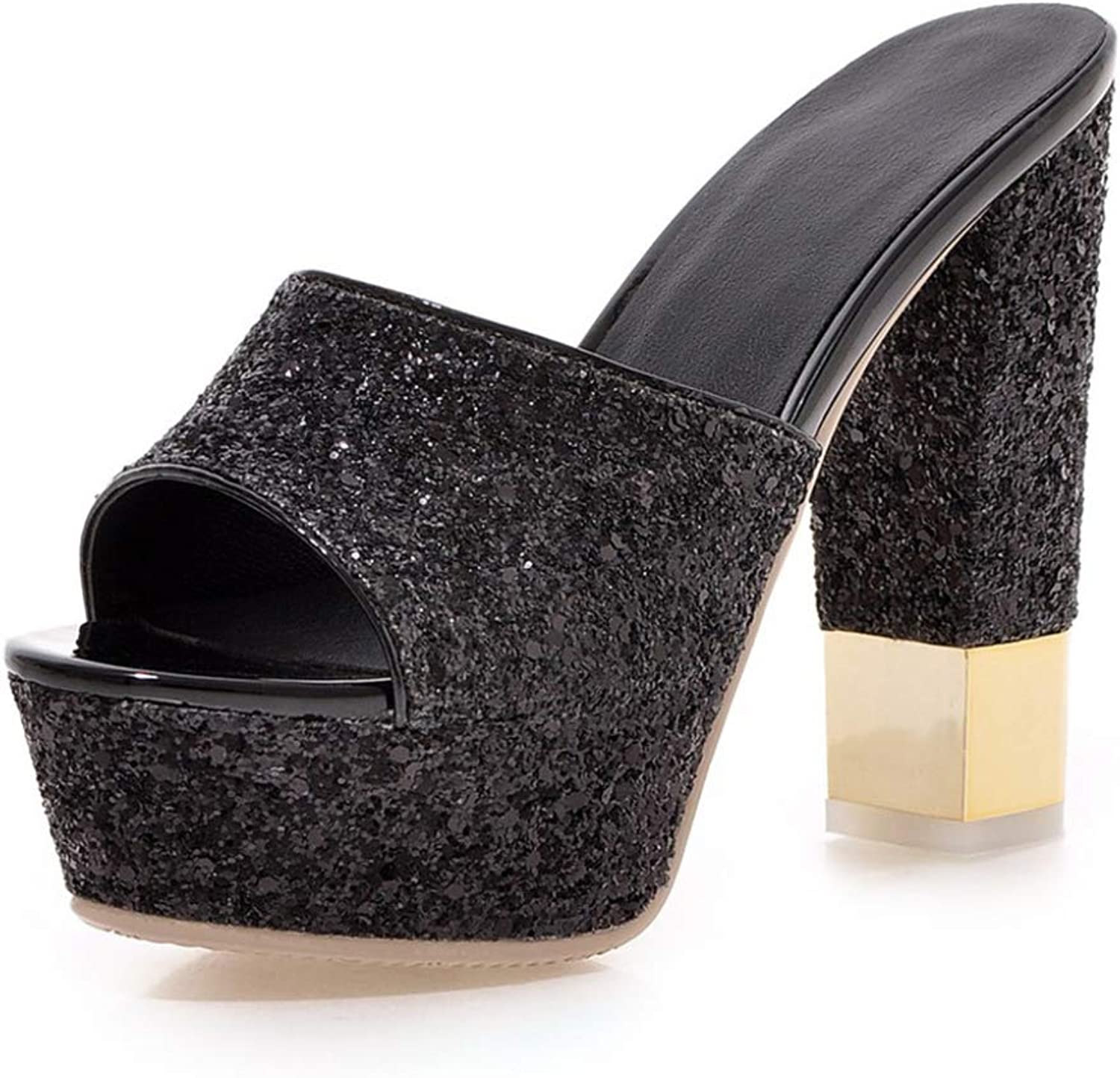 T-JULY Summer Sexy Women Bling Pumps for Party Wedding Ladies Platform Mules Super High Heels shoes Woman
